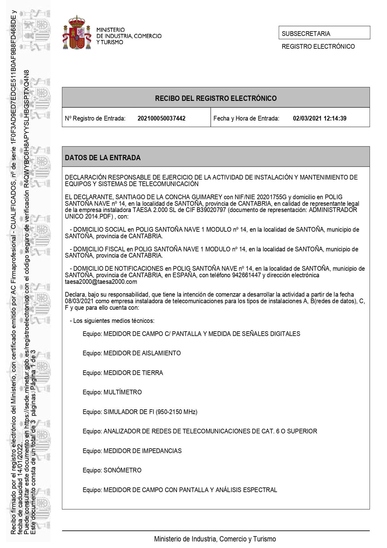 Registro De Empresa De Telecomunicaciones Page 0001 (1) cantabria